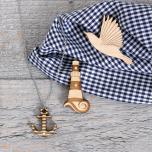 Collier avec pendentif ancre en bois d'érable et strass swarovski