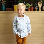 Noeud papillon en cuir et coton jaune pour enfant.