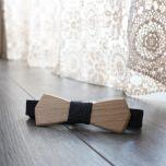 Noeud papillon en bois de chêne et coton tissé noir et taupe