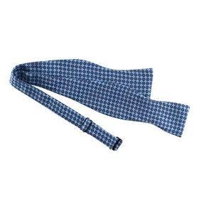 Noeud papillon en twill de soie bleu clair mini motifs
