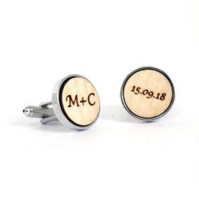 Boutons de manchette en bois ronds initiales et date personnalisables