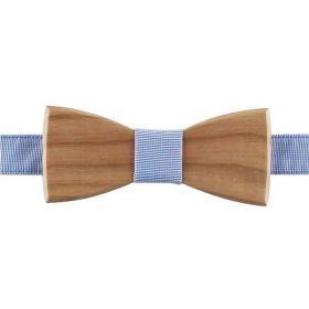 Noeud papillon en bois de merisier et coton fil à fil bleu ciel