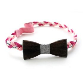 Headband tressé rose, argent et bois d'Ebène