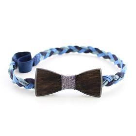 Headband tressé bleu, argent et bois d'Ebène