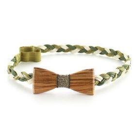 Headband tressé vert, or et bois d'Olivier