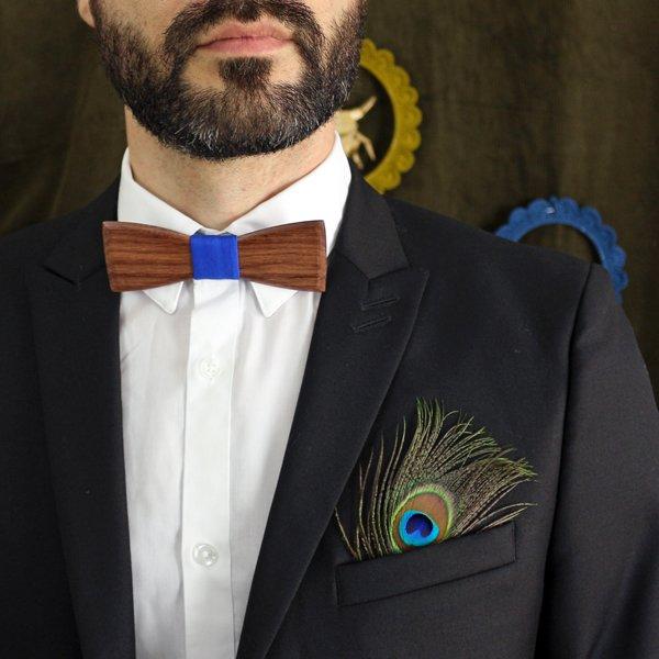 noeud papillon en bois de palissandre et coton bleu roi pour homme
