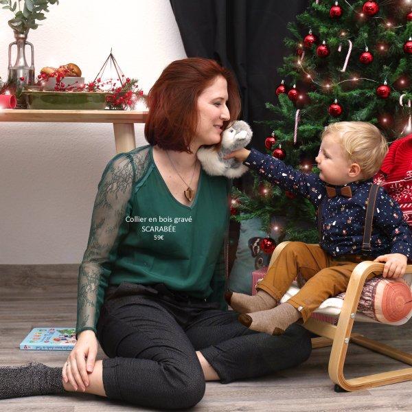 accessoire femme et enfant à noel collier en bois gravé au laser scarabée noeud papillon en bois enfant