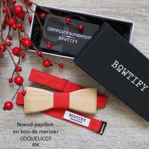 noeud papillon en bois de merisier et coton rouge coquelicot pour homme