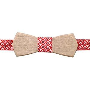 noeud papillon en bois d'érable et tissu rouge et blanc