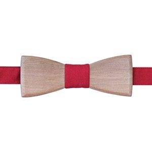noeud papillon en bois de noyer et tissu rouge safran pour homme