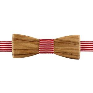 noeud papillon en bois d'olivier rayé rouge et blanc
