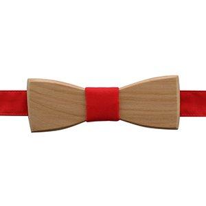 noeud papillon en bois d'érable et tissu rouge