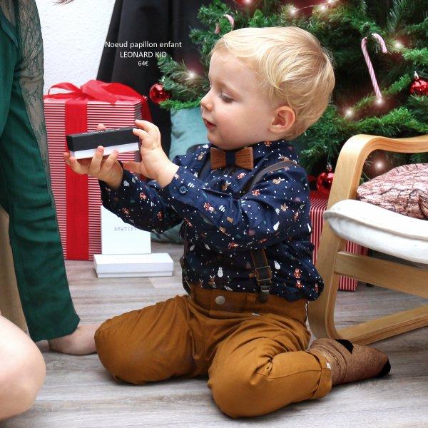 noeud papillon en bois de palissandre et coton bleu marine pour enfant idée cadeau noel