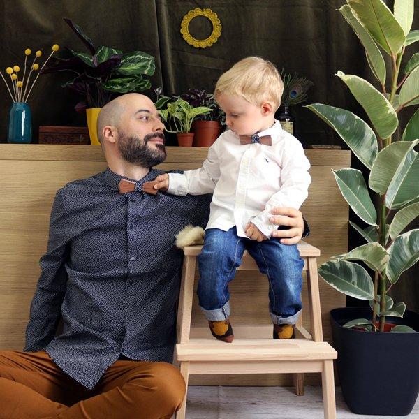 noeud papillon bois homme et enfant