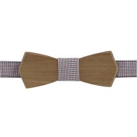 Noeud papillon en bois de noyer et coton à carreaux bleus, blancs et rouges.