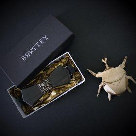 Noeud papillon en bois d'ébène et coton imprimé noir et or