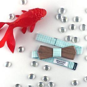 Noeud papillon en bois de noyer et coton vert d'eau