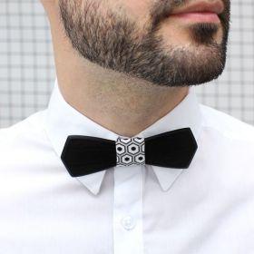 Noeud papillon en bois d'ébène et coton imprimé gris, blanc et noir