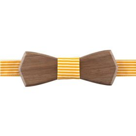 Noeud papillon en bois de noyer et coton rayé jaune et blanc.