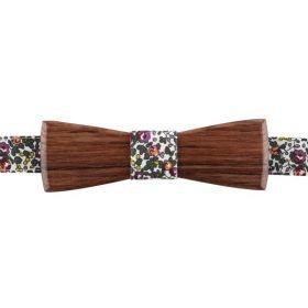 Noeud papillon en bois de palissandre de Madagascar et coton imprimé liberty