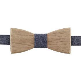 Noeud papillon en bois de chêne et coton imprimé mini motifs gris