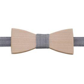 Noeud papillon en bois d'Érable et coton à chevrons gris et blancs