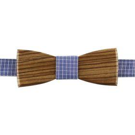 Noeud papillon en bois de zebrano et coton oxford bleu parme