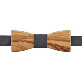 Noeud papillon en bois d'olivier et coton gris foncé