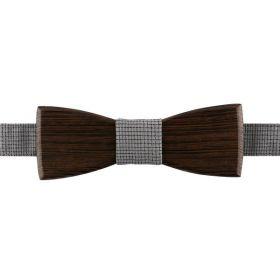 Noeud papillon en bois de wengé et coton tissé taupe et noir