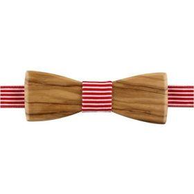 Noeud papillon en bois d'olivier et coton rayé rouge et blanc