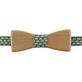 Noeud papillon en bois de merisier et coton imprimé vert foncé et blanc