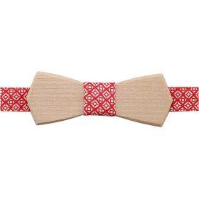 Noeud papillon en bois d'érable et coton imprimé rouge et blanc
