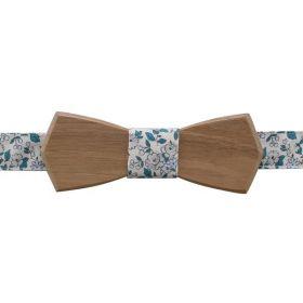 Noeud papillon en bois de noyer et coton imprimé fleurs bleu