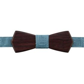 Noeud papillon en bois de palissandre des Indes et coton imprimé bleu