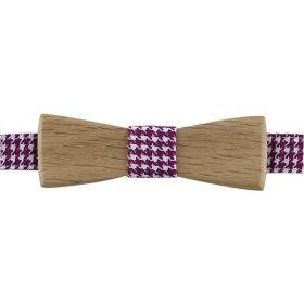 Noeud papillon en bois de chêne et coton pied de poule violet vif