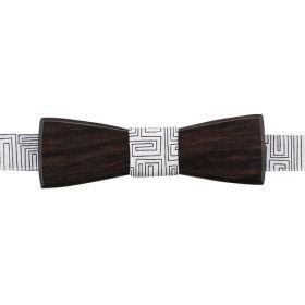 Noeud papillon en bois d'ébène et coton imprimé blanc et noir